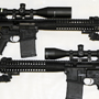 Twin LWRC R.E.P.R.s in 18 inches (Designated Marksman Rifle) and 16 inches. We discovered that they are perfectly matched by the new Trijicon 5-20X50 TR23-2G scopes and the excellent GG&G bipods.