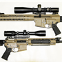 "A great pair of Cerakote Tan LWRCs. Top: R.E.P.R. 7.62 (308) 20"" Heavy Sniper with a Schmidt &Bender 4-16x50 PMII LP P4Fine.  Bottom: M6A3 5.56 (223) 18"" Designated Marksman Rifle with a Swarovski  Z6 2.5-15x44 - BRH reticle."