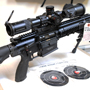 We threw everything but the kitchen sink in this HK762A1 308 store demo. It has a Schmidt & Bender 3-20x50 Front Focal P4F scope and a 45-degree offset Aimpoint H-1 Red Dot both mounted in a 6 Milirad canted SPURH mount with incorporated level. The bipod is the excellent GG&G 1557 advanced tactical.